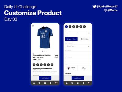 Daily UI #33 Customize Product shop ecommerce shop ecommerce chelsea product custom ui design mobile app dailyui figma uxui ux design ui