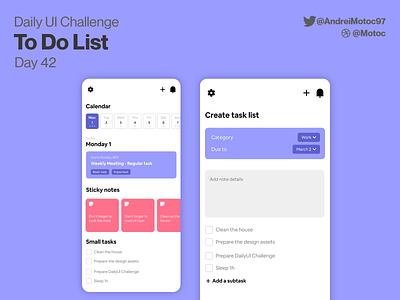 Daily UI #42 To Do List task organizer todo list todolist to do list mobile app dailyuichallenge mobile ui design app dailyui figma uxui ux design ui