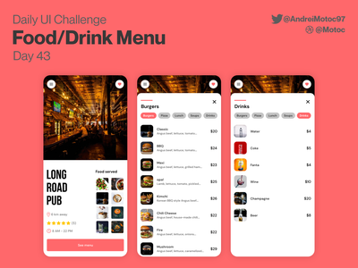 Daily UI #43 Food/Drink Menu food drink menu menu food ux design mobile dailyuichallenge ui design app dailyui figma ux uxui design ui