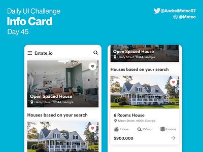 Daily UI #45 Info Card estate app rent app renting houses estate dailyuichallenge interface mobile ui design app dailyui figma uxui ux design ui