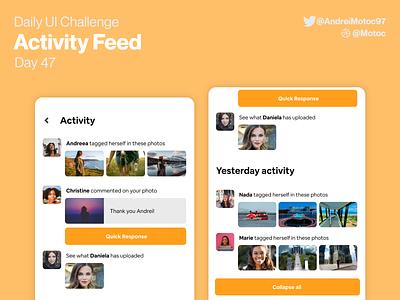 Daily UI #47 Activity Feed feed activity feed activity notification day47 dailyuichallenge mobile ui design app dailyui figma uxui ux design ui