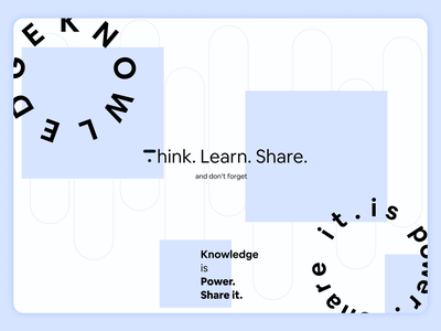 Think. Learn. Share power knowledgeispower knowledge landing contest thinkific illustration figma uxui ux design ui