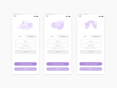 UI - UX User Flow - Tab based login and Registration  form illustration icons iconography user journey product design sketch uiux ui