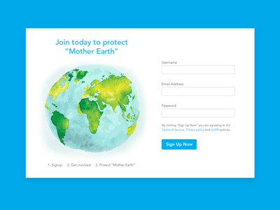 Earth Day 2020 - Protect Mother Earth Sign Up Form daily ui dailyui 001 dailyui001 dailyui user interface design user inteface visual design design ui sketch