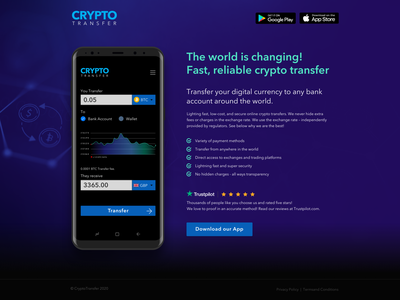 Daily UI #003 Landing Page for Crypto Transfer Makeover dailyuichallenge crypto and currency wallet crypto wallet crypto ui design daily ui 003 daily dailyui crypto transfer money transfer cryptocurrency app download landing page user interface daily 100 challenge daily ui sketch