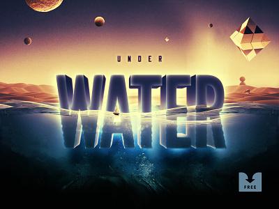 Freebie: Underwater Text Effect design water photoshop effect text template psd mockup free freebie download pixelbuddha