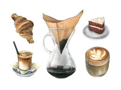 Specialty Coffee Watercolor Set pixelbuddha graphic clipart coffee watercolor illustration handpainted milk latte cappiccino barista vector images png eps