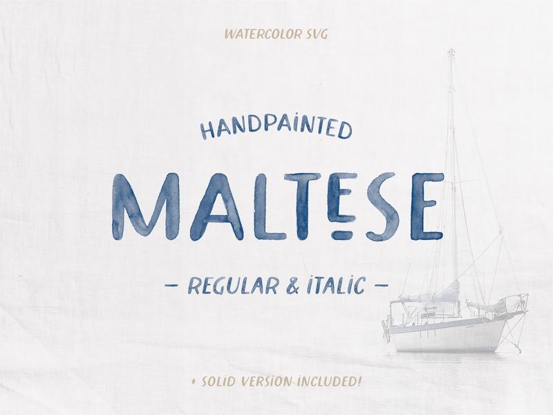 Maltese Watercolor Font typeface lettering hand painted watercolor handpainted hand-painted font svg