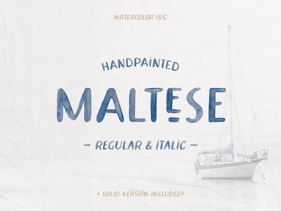 Maltese Watercolor Font typeface lettering hand painted watercolor handpainted hand-painted font svg