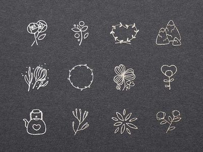 Sweet Doodled Logo Elements