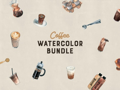 Coffee Shop Watercolors Collection popular clipart mug drink cafe elements drawing bundle shop set illustration watercolor coffee download
