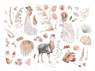 Paradise Garden Watercolor Set download clipart watercolor graphic illustrations art wedding flowers elements garden paradise floral lama frame