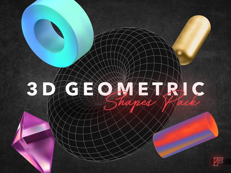 3D Geometric Shapes download isometric clipart png geometry gold holographic metal glass forms low poly shapes geometric 3d