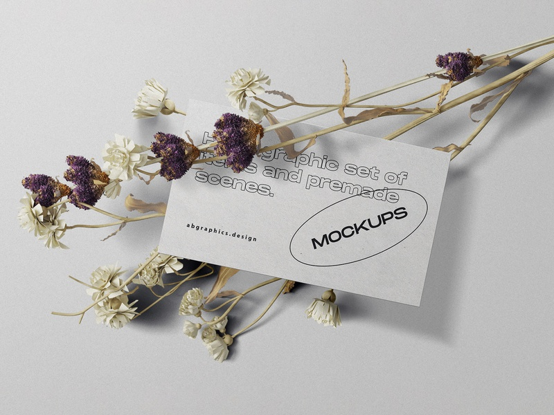 Topview Business Card Mockup pixelbuddha realistic identity topview design presentation showcase scene floral flower mockup stationery business card