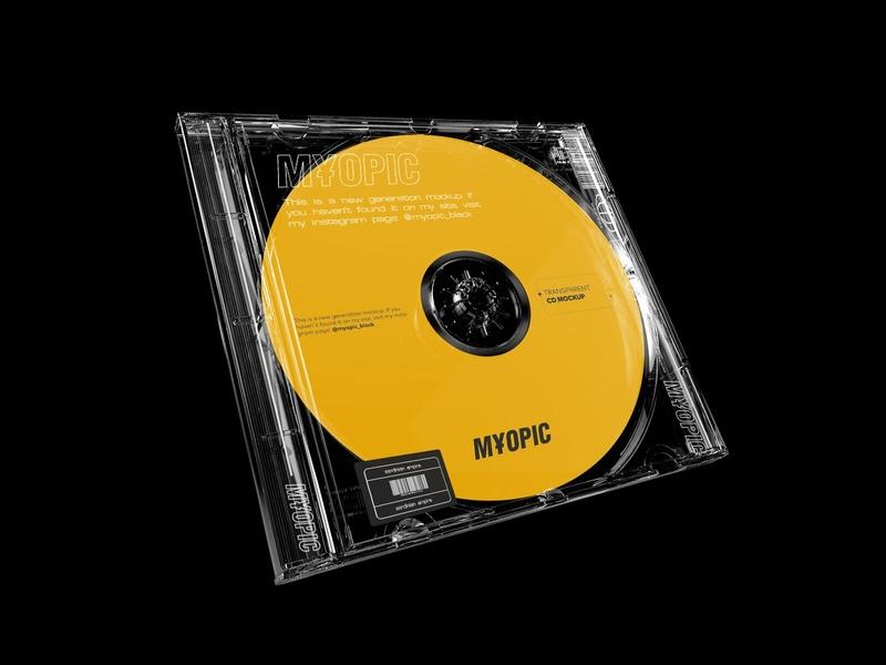 Transparent CD Mockup psd presentation download showcase mockup transparent case label design album music dvd cd