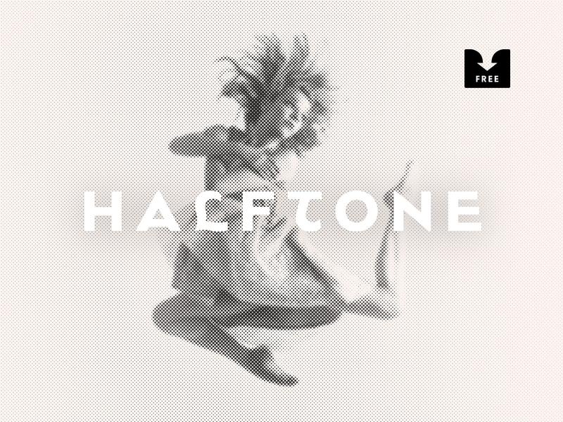 Freebie: Halftone Photoshop Effect vintage retro print newspaper object smart effect halftone template psd mockup free freebie download pixelbuddha