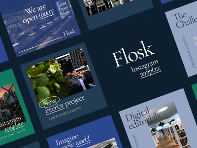 FLOSK Instagram Templates beauty startup service canva event blog story kit smm media social instagram psd template download pixelbuddha