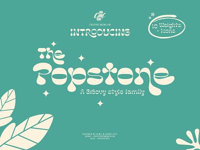 Popstone Display Font modern ligature 90s 70s 80s groovy typeface icons display font pixelbuddha