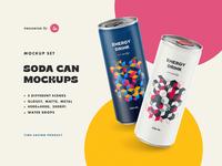 Soda Can Mockups drink soda 250ml beer juice tea mockup energy smart object aluminium soft drink aluminum metal cold small matte glossy flying drops showcase