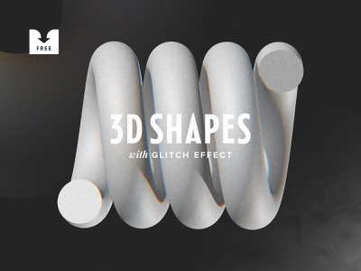 Freebie: 3D Shapes With Glitch Effect freebie png graphic elements clip art clipart effect glitch shapes shape 3d download free
