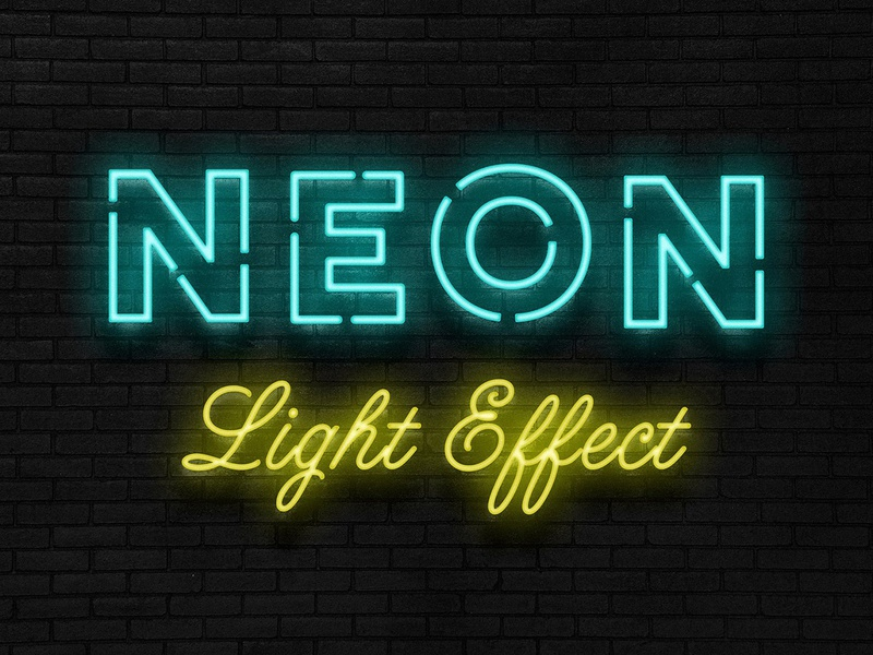 Neon Sign Photoshop Effect download background wall brick bar psd tube style layer light effect photoshop sign neon