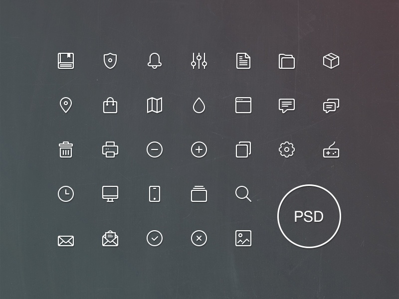 Freebie: Line Icons Set Vol.1 pixelbuddha icons outline free psd book notepad browser joypad settings search letter