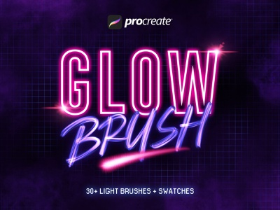 Glow Procreate Brushes lettering collection set brush download glitter 3d glitch glows neon cyberpunk light glow brushes procreate