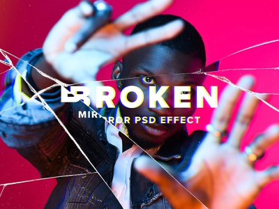 Broken Mirror Photo Effect psd action effect mockup overlay abstract distorted distortion distort cracked texture smashed glass broken