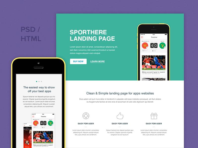 Freebie: SportHere Template pixelbuddha freebie template html psd landing