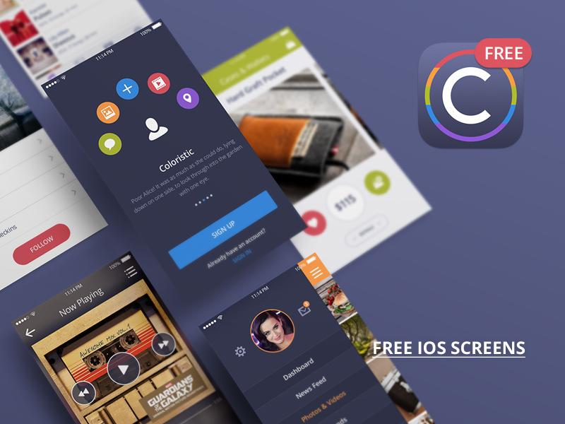 Freebie: Coloristic UI Kit Free freebie pixelbuddha free ios ui ui kit iphone psd app design