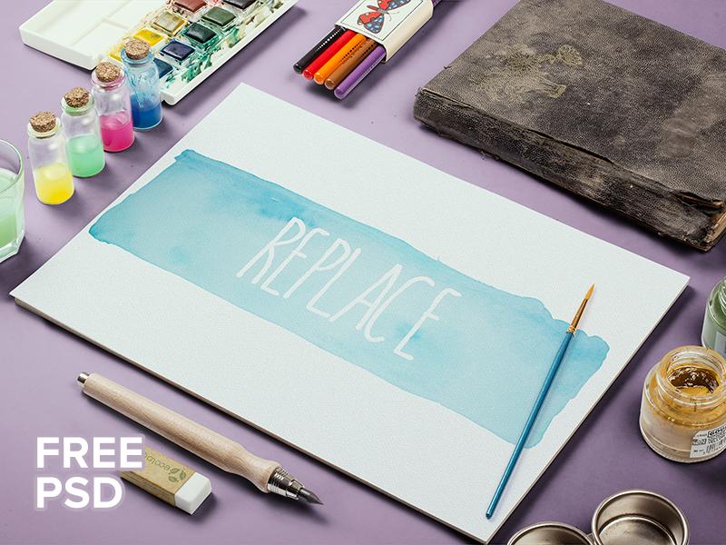 Freebie: Watercolor Sketch Mock-Up freebie pixelbuddha free mockup mock-up mockups watercolor sketch