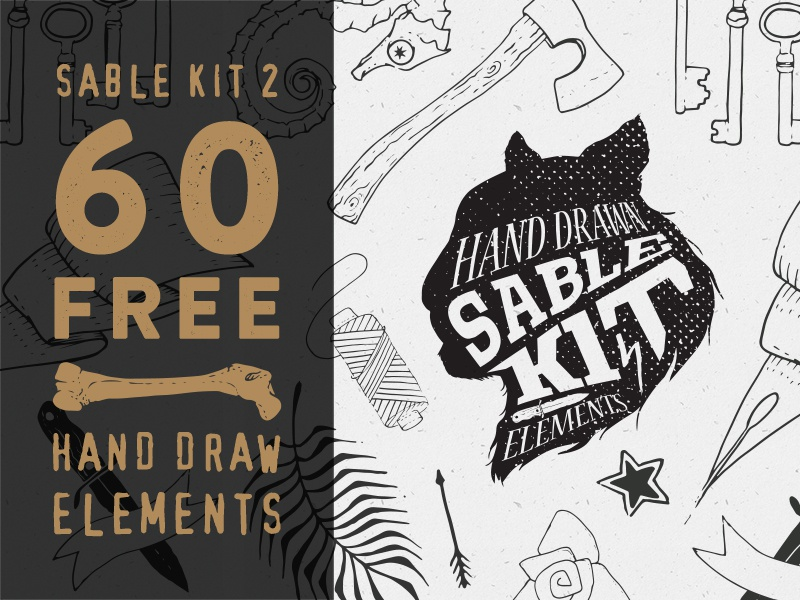 Freebie: Sable Kit 2 Free freebie pixelbuddha free vector vectors hand draw elements