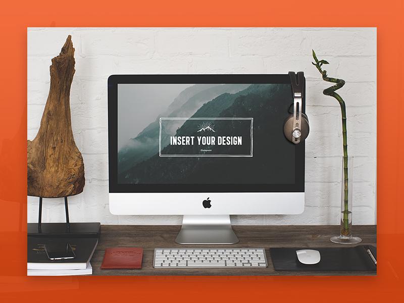 Freebie: 2 Hip Desktop Mock-ups device photo notebook mock-up template imac mockup free freebie pixelbuddha
