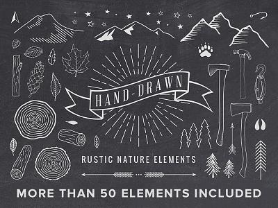 Freebie: Hand-Drawn Rustic Elements elements hand draw vectors vector free pixelbuddha freebie