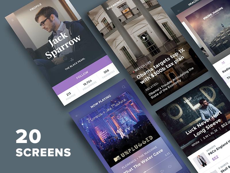 Freebie: Ghost Ship Mobile UI Kit Free design app psd iphone ui kit ui ios free pixelbuddha freebie