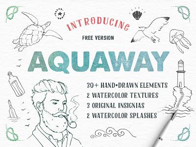 Freebie: AquaWay Free Vector Pack textures watercolor pack elements vector hand drawn pixelbuddha freebie
