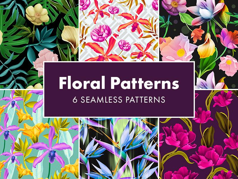 Freebie: 6 Seamless Floral Patterns freebie pixelbuddha floral flowers patterns