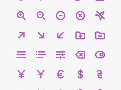 Freebie: 100 Bold Purple Line Icons interface outline line vector set pixelbuddha icons icon freebie free
