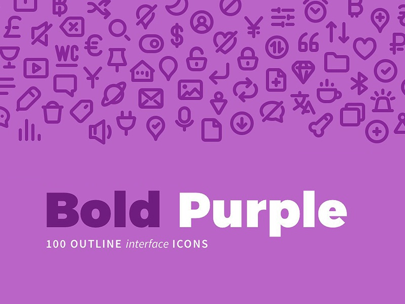 Download Freebie: 100 Bold Purple Line Icons