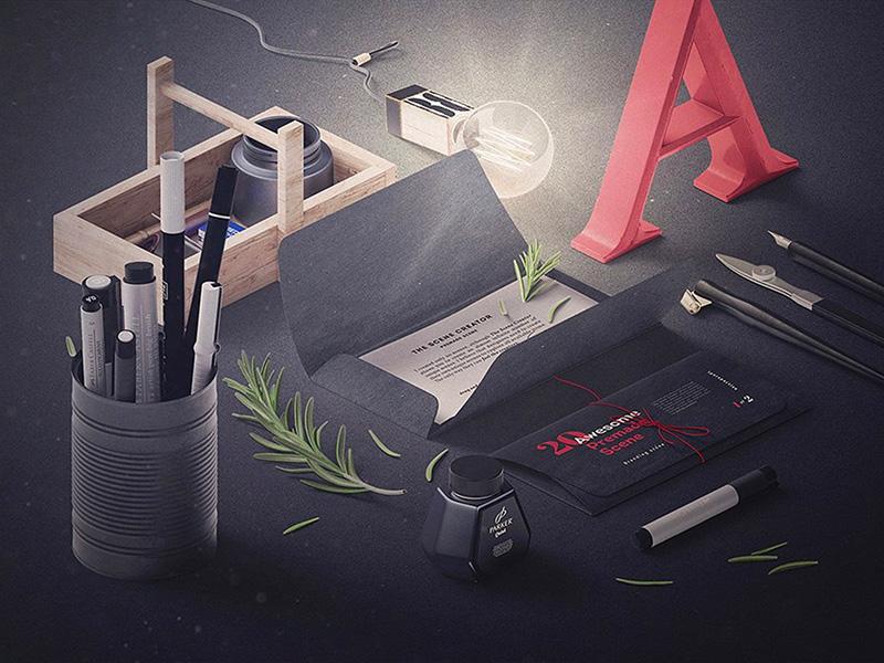 Perspective Scene Creator free freebie pixelbuddha perspective scene branding mockups mock-up mockup