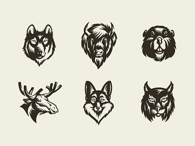 Freebie: Savage Animals Vector Bundle bear wolf animals vectors logo templates pixelbuddha freebie free