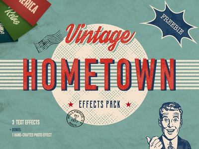 Freebie: Hometown Vintage Effects Pack layer style add-on add-ons effect effects text grunge vintage pixelbuddha freebie free