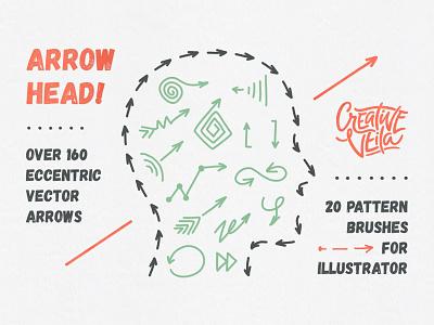 Freebie: Arrow Head Vector Set freebie free patterns brushes hand-crafted arrow vector arrows