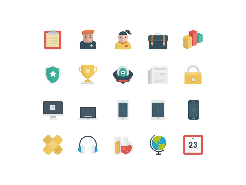 BasicBasic Flat Icons Set #2 icons flat colorful 100x100 icons set icons pack flat  design business game vector web