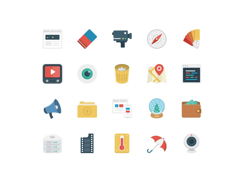BasicBasic Flat Icons Set #3 web vector game business flat  design icons pack icons set 100x100 colorful flat icons