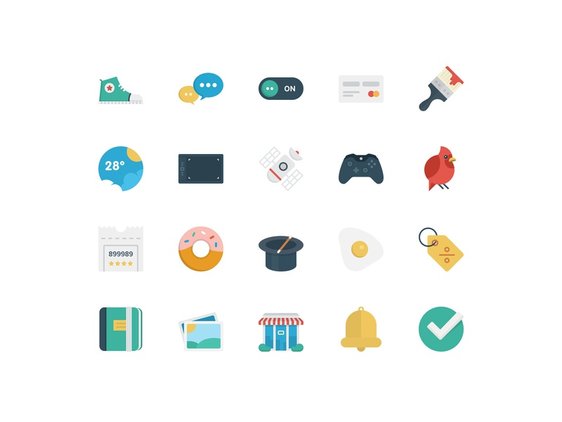 BasicBasic Flat Icons Set #4 icons flat colorful 100x100 icons set icons pack flat  design business game vector web