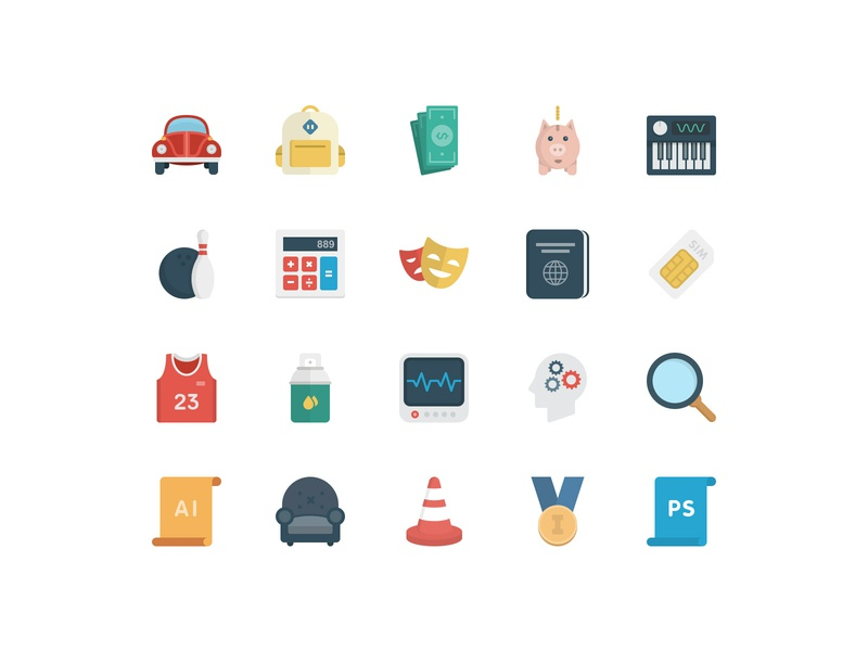 BasicBasic Flat Icons Set #5 web vector game business flat  design icons pack icons set 100x100 colorful flat icons