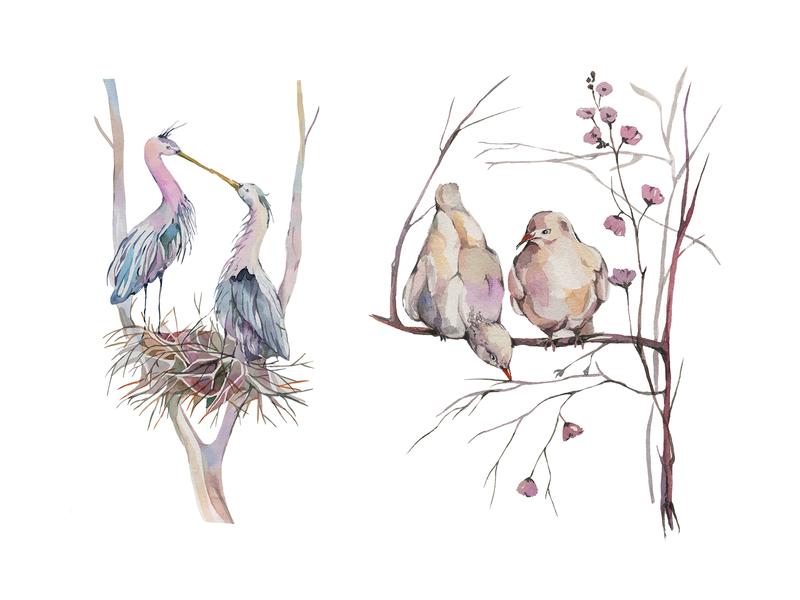 Freebie: Spring Garden Watercolors illustration free freebie pixelbuddha floral frames wreaths illustrations herbal birds watercolor garden spring