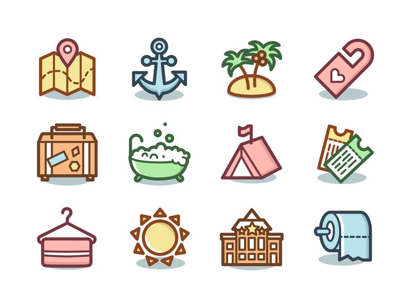 Freebie: Capitalist Vacation & Hotels Icons ticket mapa holidays trip hotel vacation svg icon icons pixelbuddha free freebie