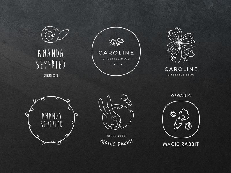 Sweet Doodled Logo Elements doodle vectors elements logo templates premade logo feminine floral hand drawn logotype brand